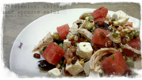 Watermelon, chicken and sprouts salad_wtr