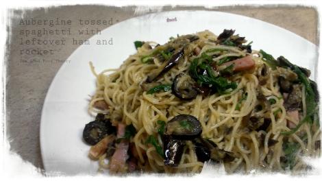 Aubergine tossed spaghetti_wtr