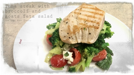 Tuna steaks with broccoli and goats feta salad_wtr