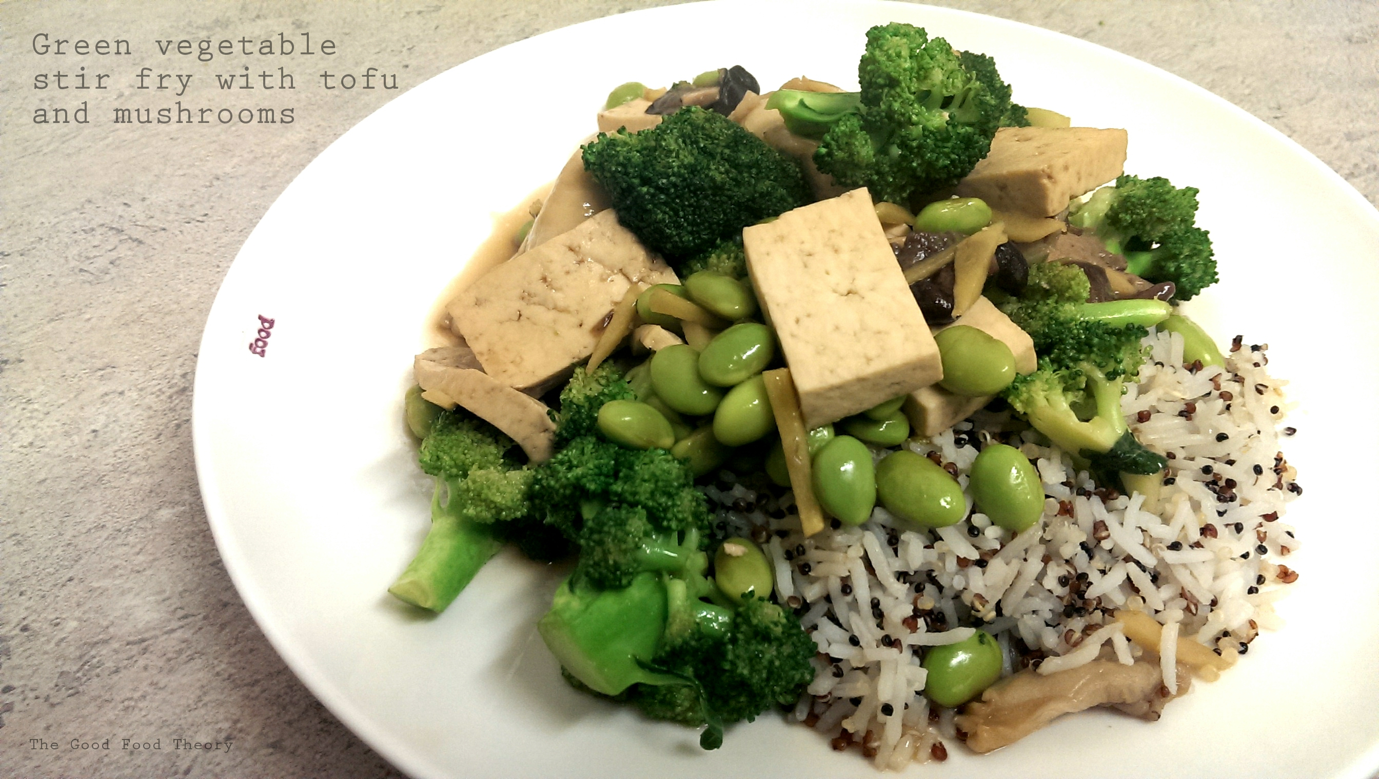 green vegetable stir fry with tofu and mushrooms the