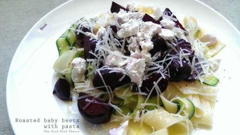 Roasted baby beets with pasta
